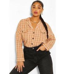 plus geruite blouse met hoge kraag, geelbruin