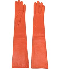 manokhi long-length leather gloves - orange
