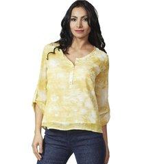 blusa gasa manga larga amarilla alexandra cid