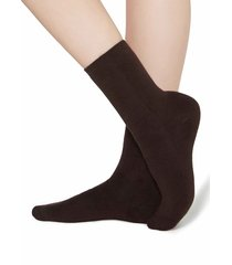 calzedonia - short cotton thermal socks, one size, brown, women