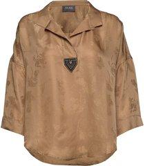 nava jacquard blouse blouse lange mouwen bruin mos mosh