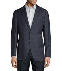 tonal windowpane plaid wool & silk-blend blazer