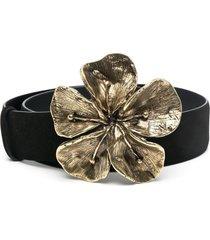 alberta ferretti floral buckle belt - black