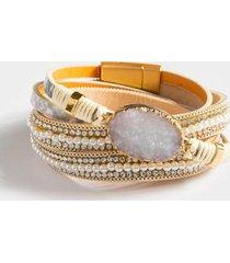 cyndi druzy leather bracelet set - gray