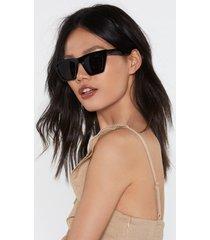 womens no paparazzi square sunglasses - black