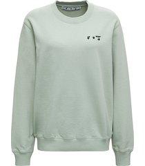 off-white green cotton sweatshirt with logo print
