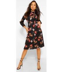 bloemenprint midi jurk met hoge kraag en opgestroopte middel, zwart