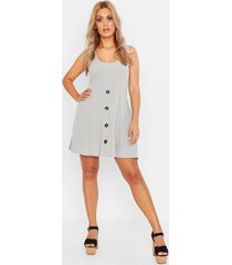 plus plunge button down skater dress, grey marl