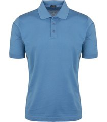 man classic polo shirt in light blue cotton
