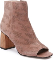 sanctuary rock peep-toe perforated booties women's shoes