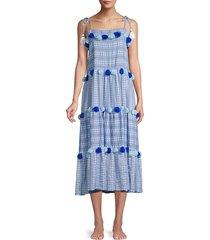tessora women's lola tie tassel dress - chambray - size s