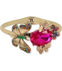 betsey johnson gold-tone multicolor crystal butterfly bangle bracelet