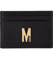 moschino women's leather card case - black