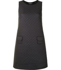 paule ka diamond-quilted mini dress - black