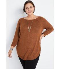 maurices plus size womens brown haven cozy crew neck sweatshirt