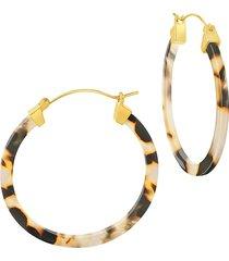 sterling forever women's faux tortoiseshell hoop earrings