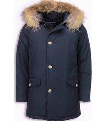 heren winterjas wooly lang - grote xl bontkraag - parka 4 pocket
