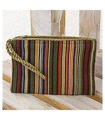 cotton wristlet, 'rainbow stripes' (guatemala)