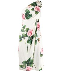 dolce & gabbana tropical rose print one shoulder dress - white