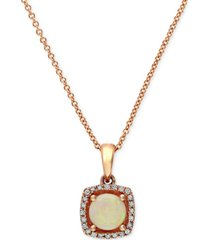 aurora by effy opal (3/4 ct. t.w.) and diamond accent pendant in 14k rose gold