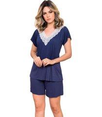 pijama curto feminino com blusa com detalhe de bolso e shorts