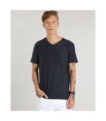 camiseta masculina básica flamê manga curta gola v chumbo