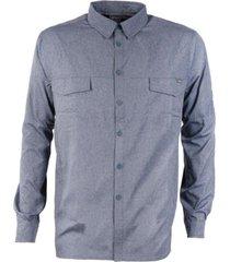 camisa rosselot q-dry shirt l/s melange azul piedra lippi