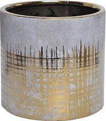 kwietnik osłonka ceramiczna szaro-złota