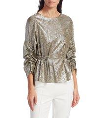 akris punto women's metallic seersucker drawstring blouse - silver - size 2