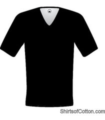shirtsofcotton t-shirt zwart diepe v-hals 2-pack
