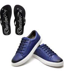 kit sapatãªnis masculino de couro e chinelo masculino conforto royal - azul - masculino - dafiti