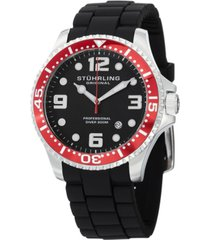 stuhrling original stainless steel case on black high grade silicone rubber interchangeable strap with additional red silicone rubber strap, red bezel, black dial, with silver tone and white accents