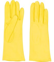 manokhi textured scalloped edge gloves - yellow