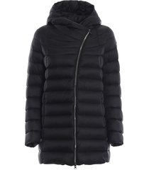 place black puffer hooded short coat