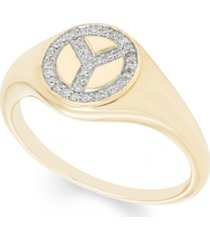 diamond (1/10 ct. t.w.) peace sign ring in 14k yellow or rose gold