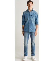 medium denim slim-fit overhemd