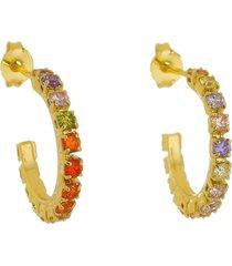 brinco argola colorido com zircônias tudo joias folheado a ouro 18k dourado