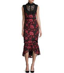 rose lace high-neck mermaid dress