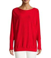 lafayette 148 new york women's boatneck wool & silk dolman sweater - red - size xs