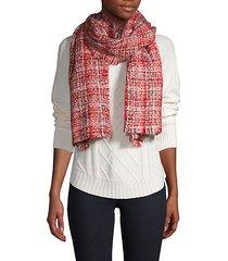 fringed-trim tweed scarf