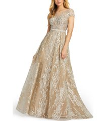 mac duggal cap-sleeve embroidered ball gown