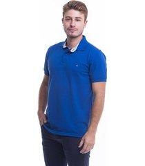 camiseta polo hamer, basica con bordado, para hombre color azul rey