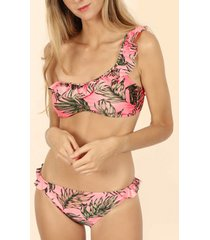 bikini admas 2-delige bikiniset 1 bandje flounce fluor leaves roze adma's
