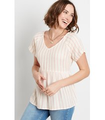 maurices womens white stripe button back babydoll top beige