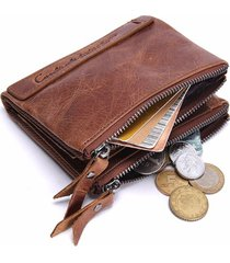 cartera piel genuina hombre contact's zipper billetera