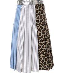 msgm paneled pleated skirt - multicolour