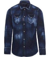 dsquared2 western dark shirt