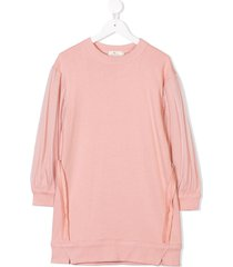 andorine tulle sleeve sweater dress - pink