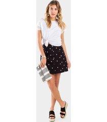 izzie daisy button skirt - black