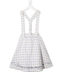 raspberry plum calla grid-print skirt - white